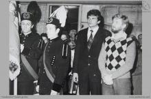 """1980 - 1) Poświęcenie sztandaru Niezależnego Samorządnego Związku Zawodowego """"Solidarność"""" w KWK """"Jankowice""""  – (foto ze zbiorów J. Raszki)"""