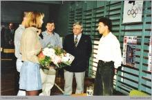 1996 - Spotkanie z olimpijczykiem R. Korzeniowskim w ZSG przy KWK Jankowice - (foto ze zbiorów M. Kuli)