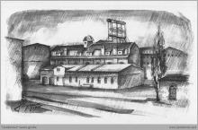 Lata 20-te ub. wieku - Szkic kopalni na podstawie zdjęcia archiwalnego - (foto ze zbiorów L. Adamczyka)
