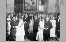 """1920 - Bal na zakończenie rozgrywek w palanta. Większość zawodników to pracownicy """"Blücher Schächte"""" - (foto ze zbiorów kopalni/H. Konska)"""
