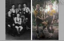 """1932 - 1936 - Zapaśnicy Koła Atletycznego """"Ruch"""" w Boguszowicach i piłkarze KS Szyby Jankowice - (foto ze zbiorów L.Waleczek/użytkownika strony)"""