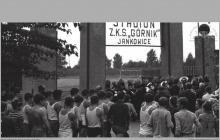 """Lata 60-te ub. - Stadion Z.K.S. """"Górnik"""" Jankowice w Boguszowicach - (foto ze zbiorów Domu Kultury w Boguszowicach-Osiedlu)"""