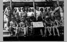 """1974 - 2) Pracownicy KWK """"Jankowice"""" oddelegowani do budowy nowego ośrodka wypoczynkowego w Kątach Rybackich - (foto dostarczone przez L. Adamczyka)"""