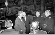 """1977 - 1) Wizyta dowództwa Północnej Grupy Wojsk Radzieckich na kopalni """"Jankowice""""– (foto ze zbiorów kopalni)"""
